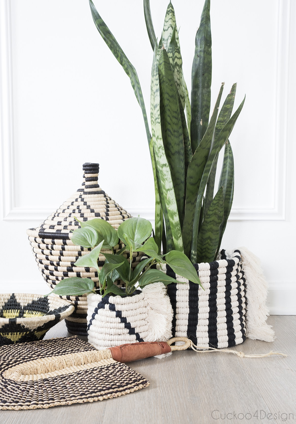 macrame planters inspired by African coil baskets