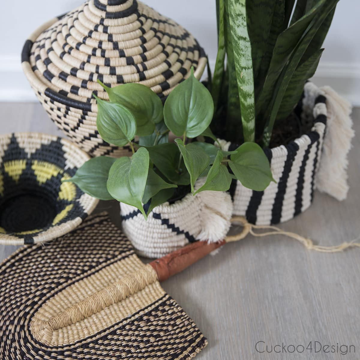 macrame planter sleeves inspired by black and white woven baskets