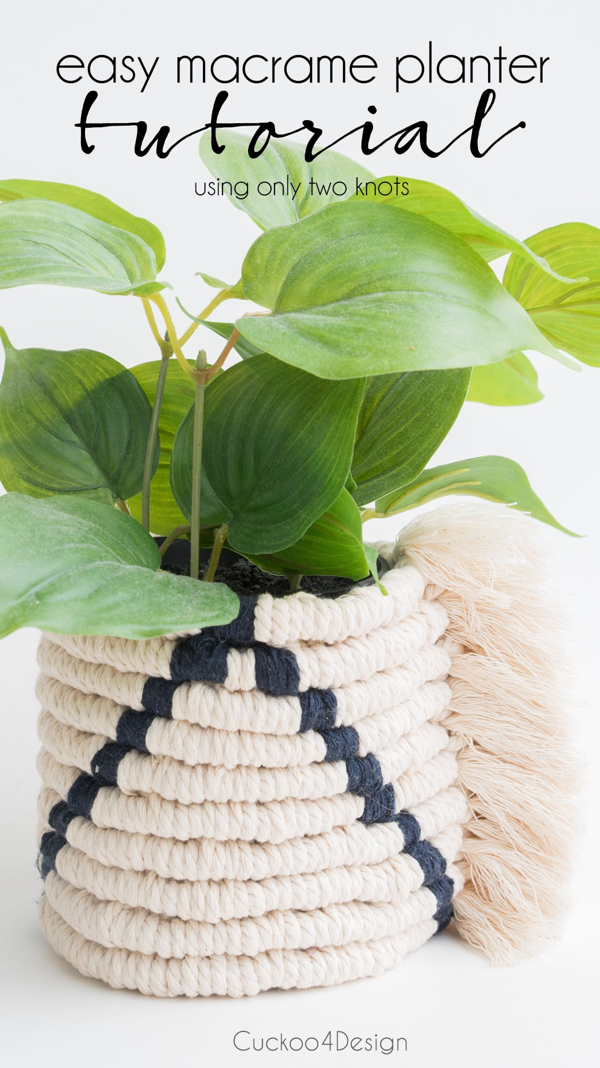 closeup of easy macrame planter tutorial using only two knots