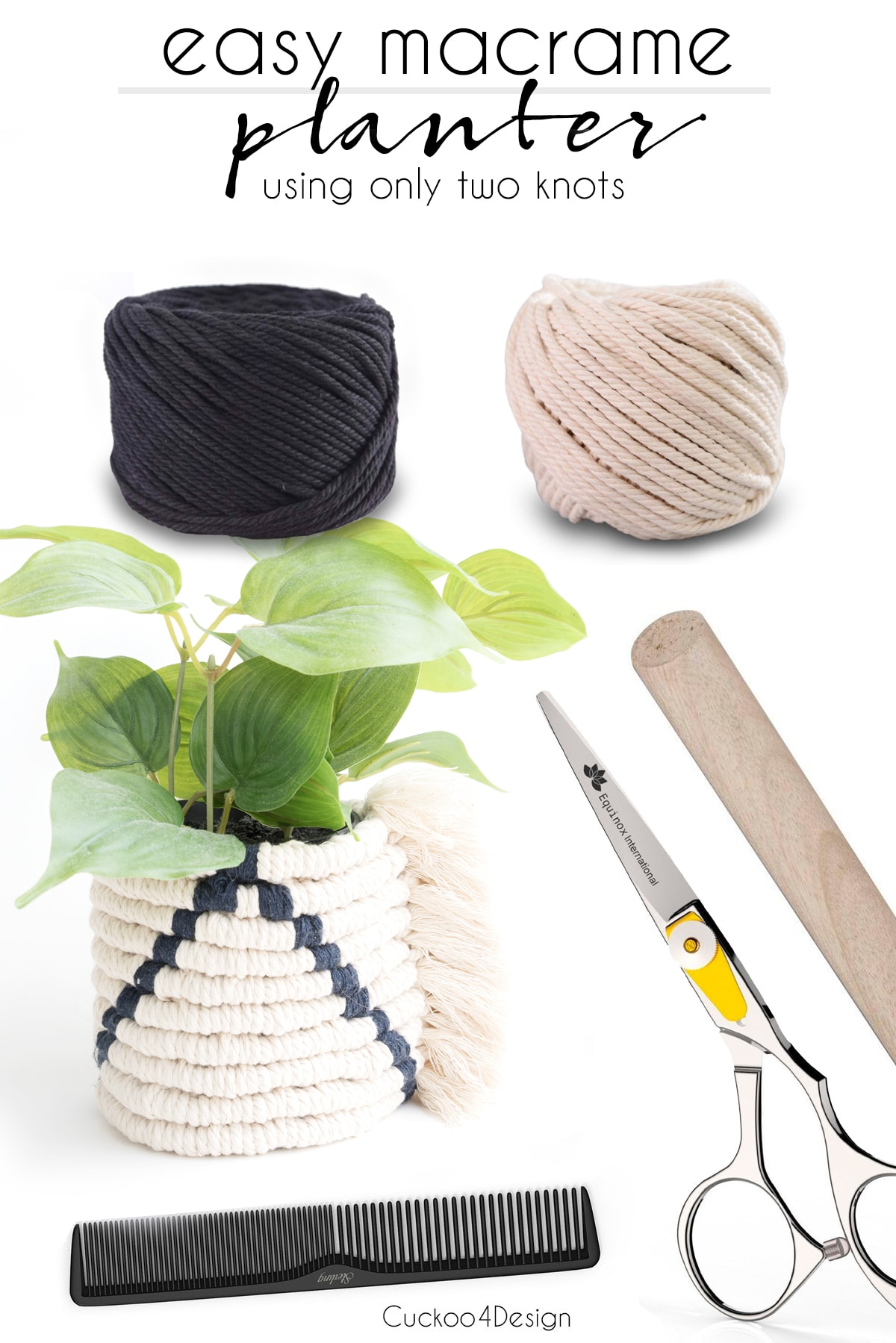 supplies needed for easy macrame planter using only two knots