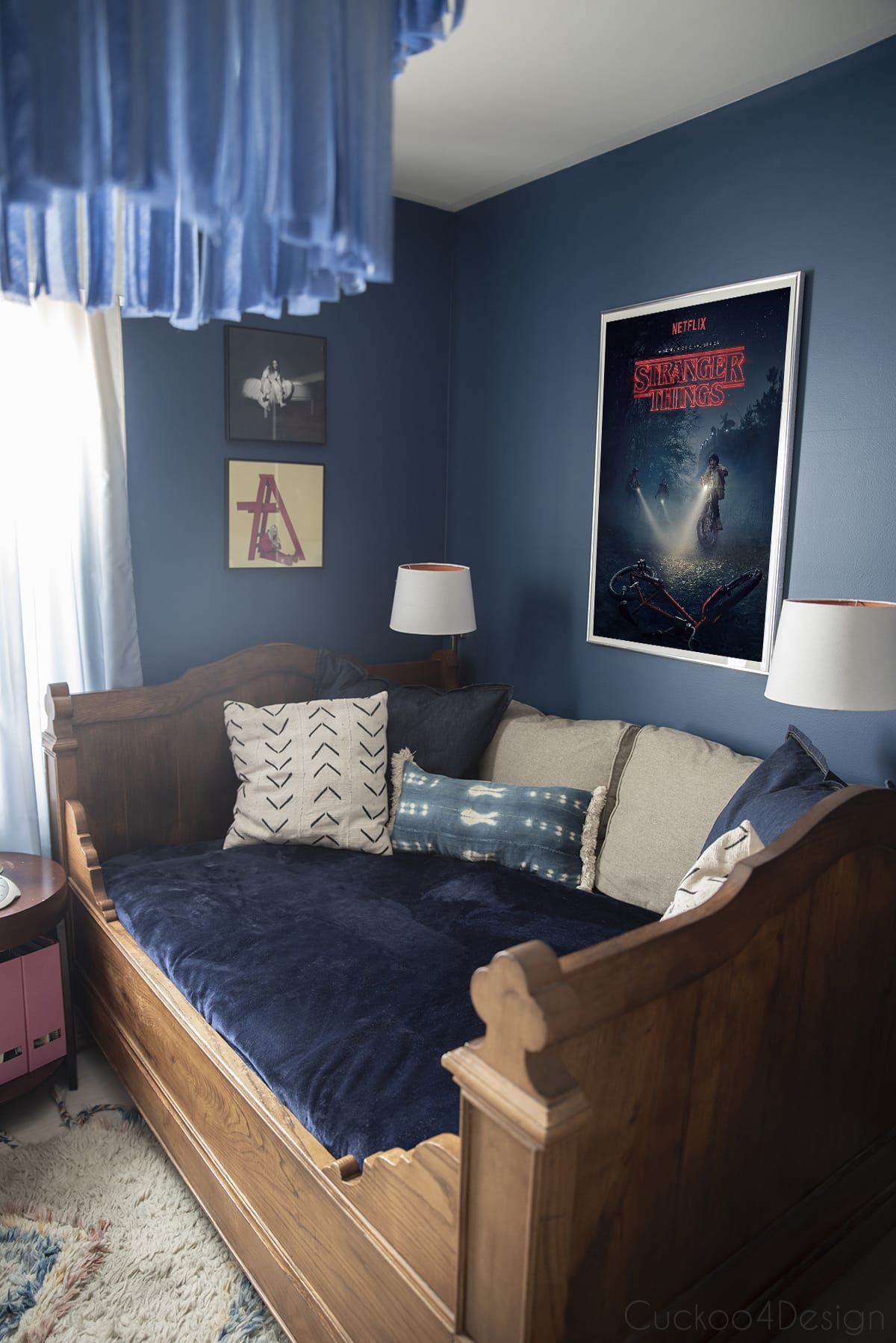 stranger things poster with French antique bed