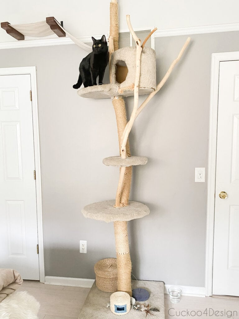 large narrow cat tree in bedroom for cat-friendly decorating