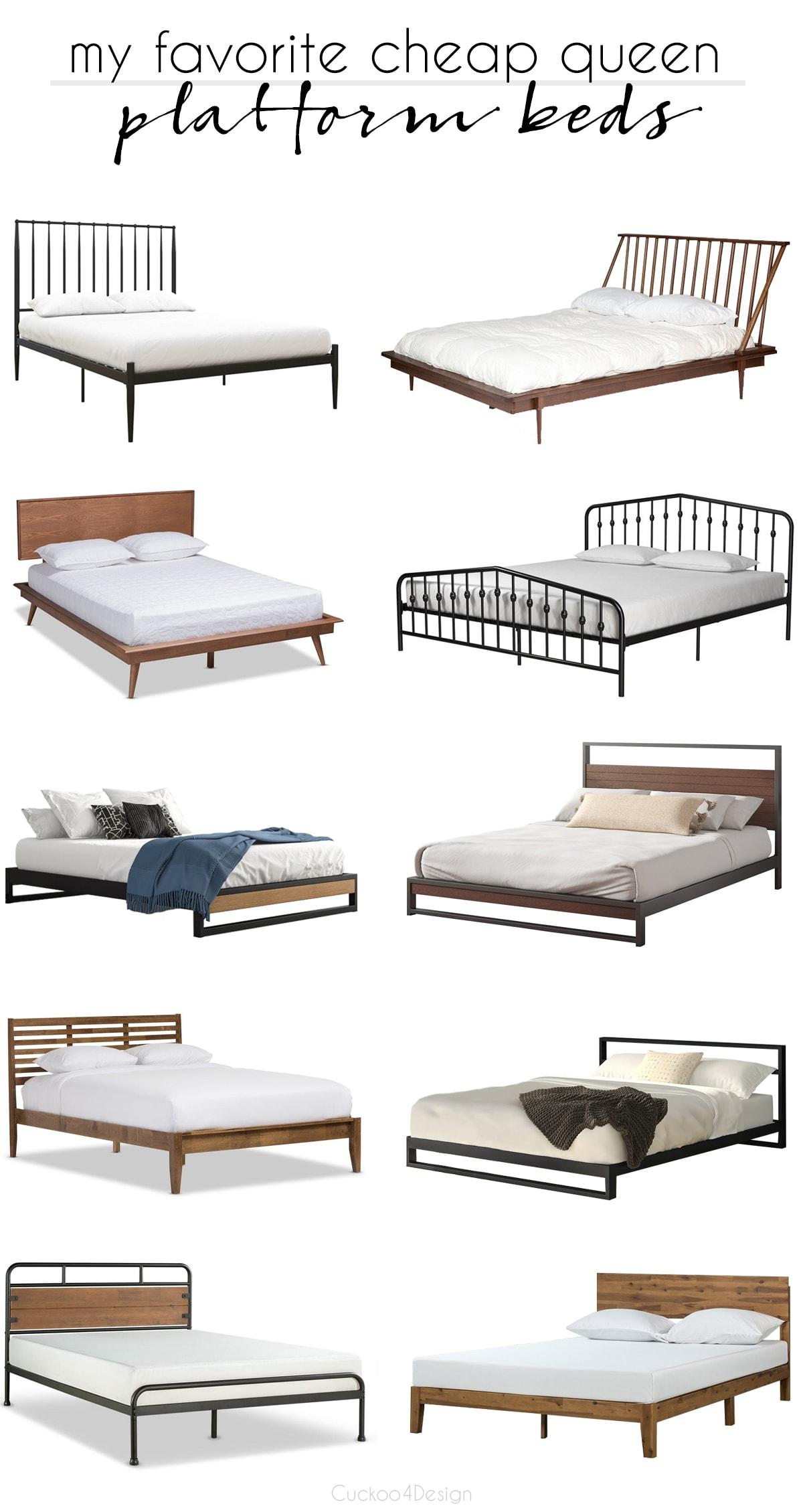 cheap queen platform beds