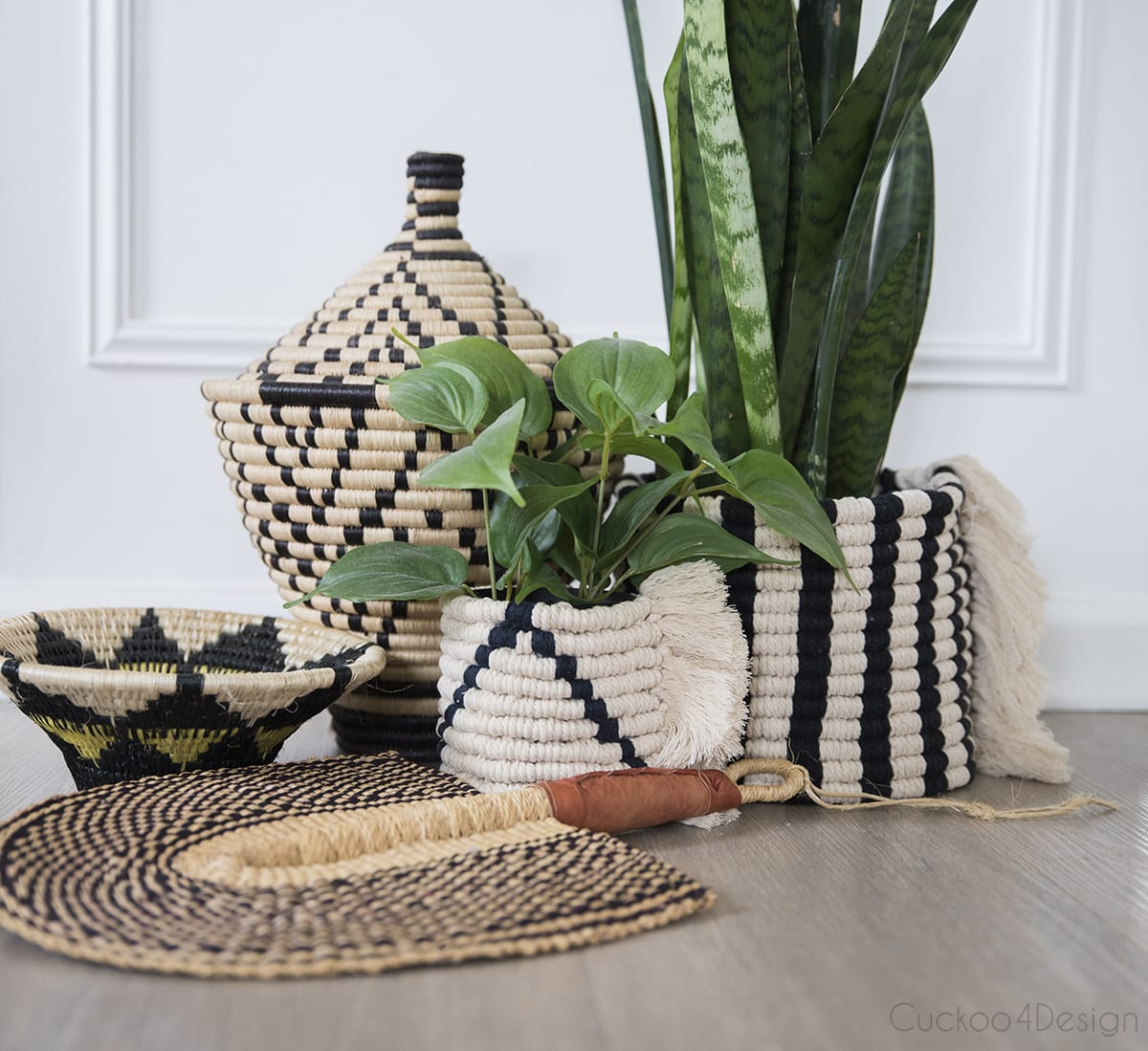 macrame planters inspired by African baskets
