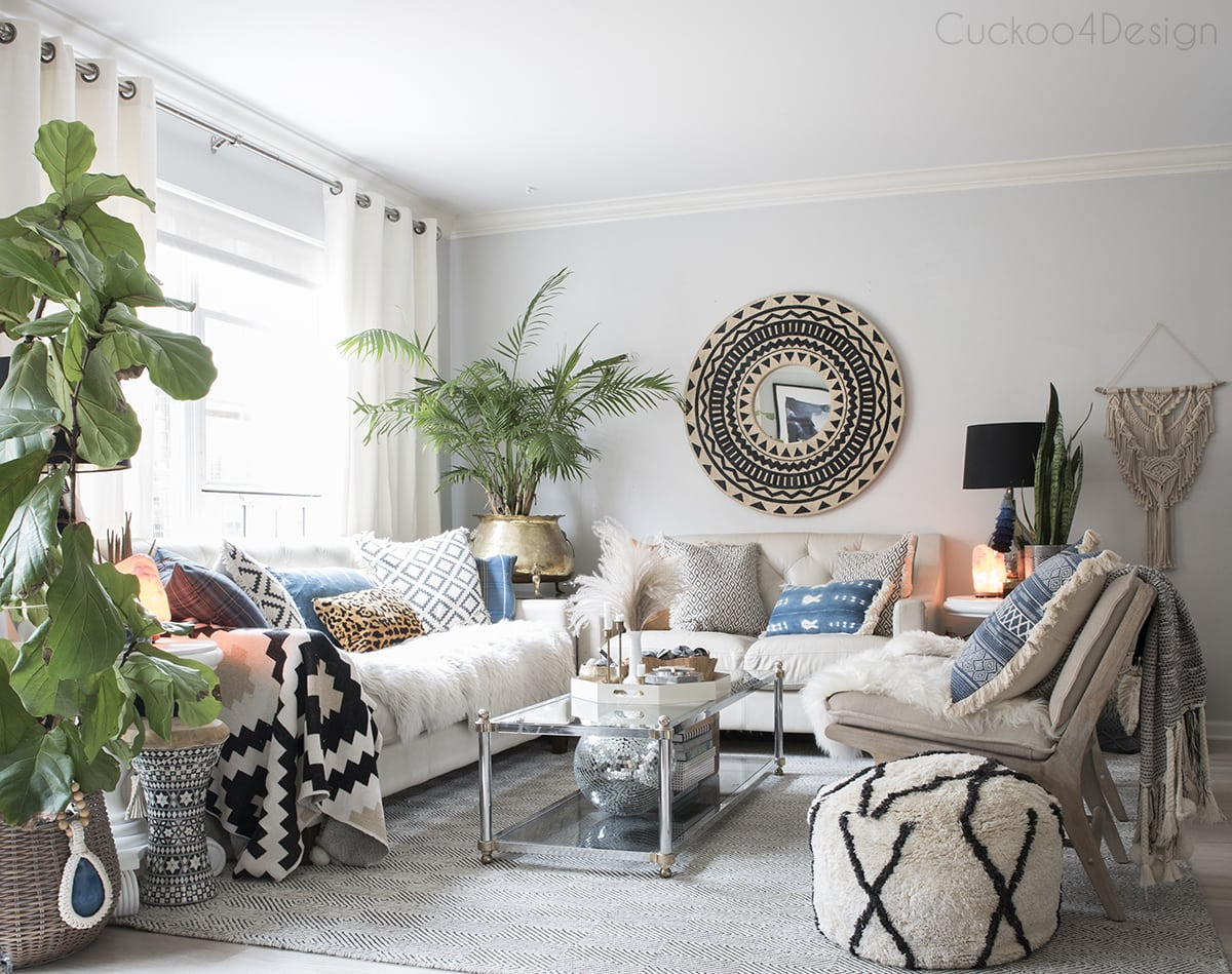 neutral boho living room decor