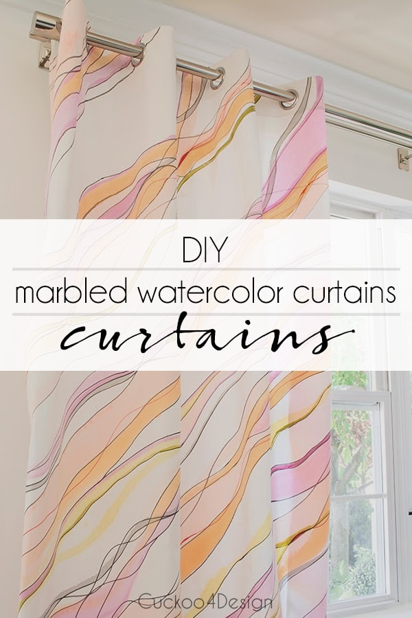DIY marbled watercolor curtains
