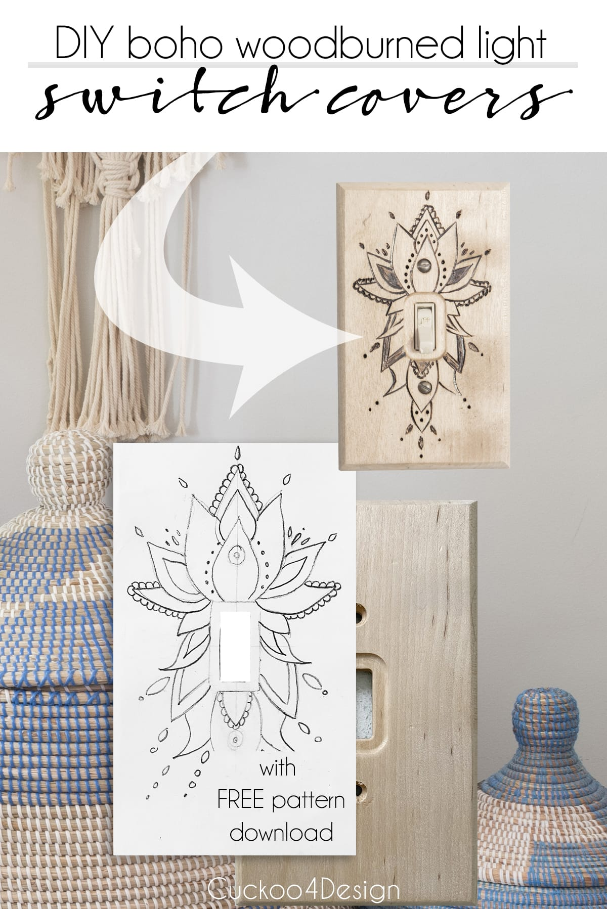 DIY boho wood burned light switch cover tutorial