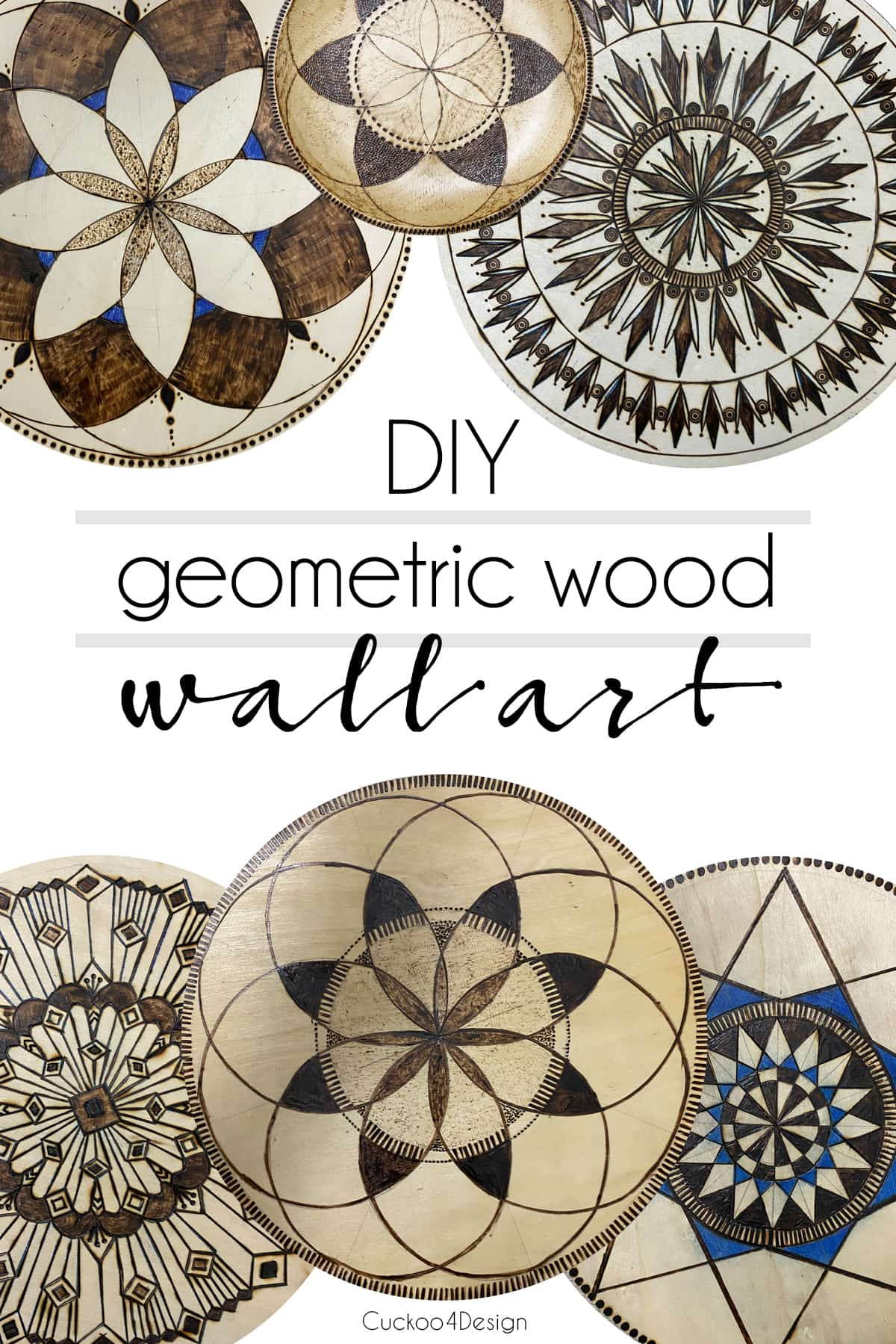 different types of geometric wood wall art