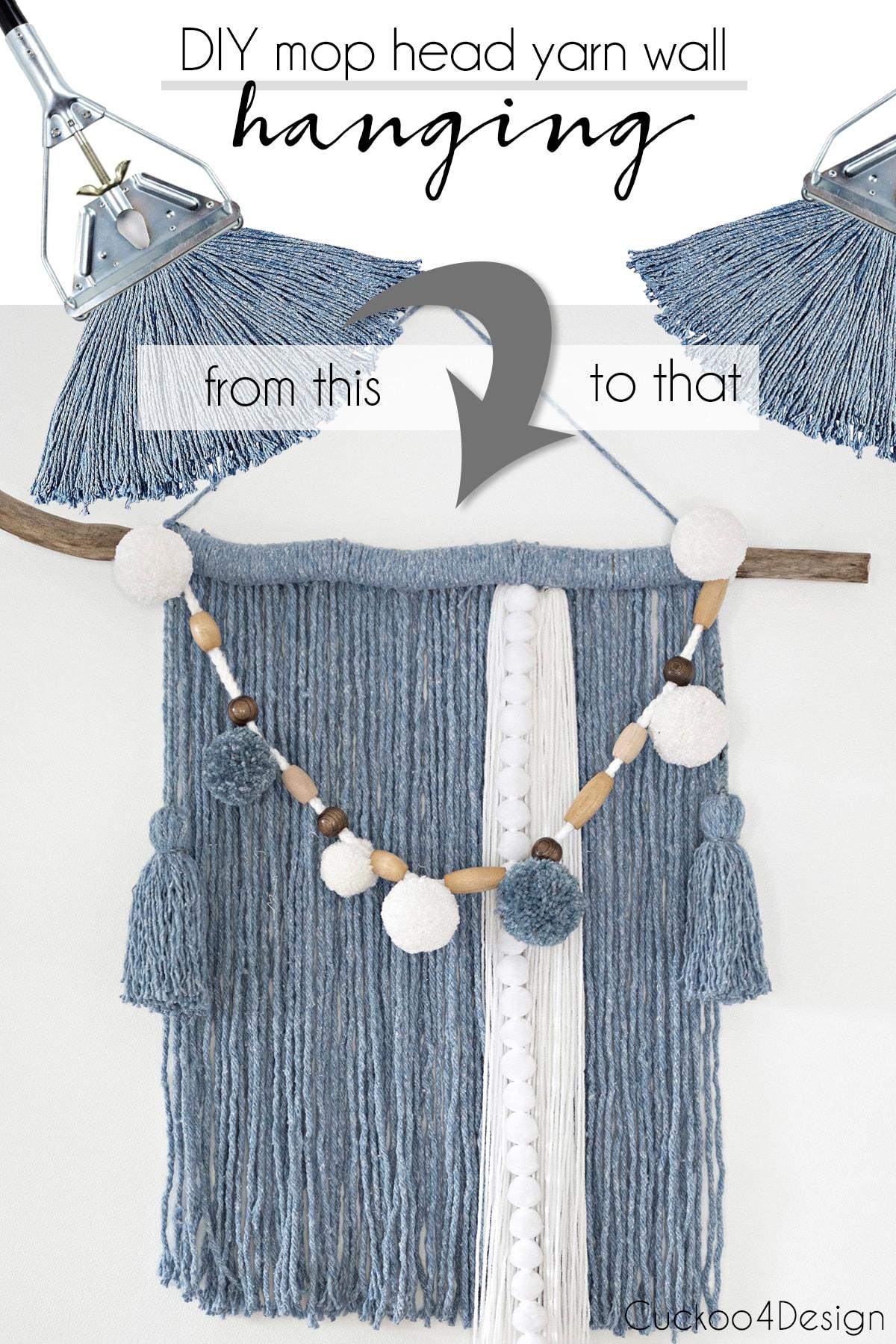 DIY blue mop head yarn wall hanging