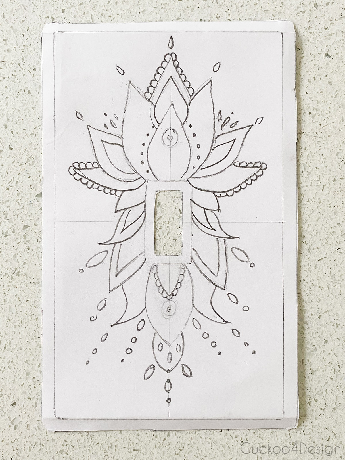 handdrawn mandala pattern for light switch cover