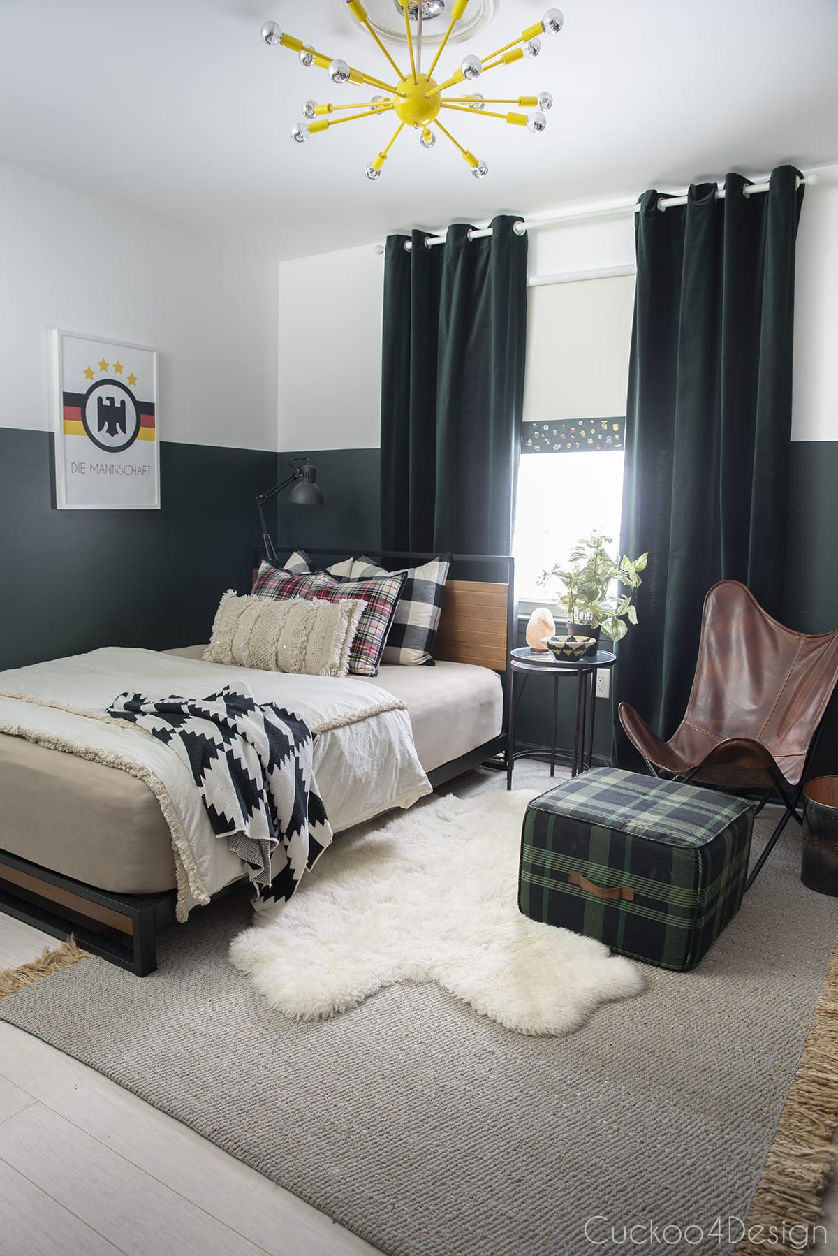 new modern platform bed in dark green boys bedroom