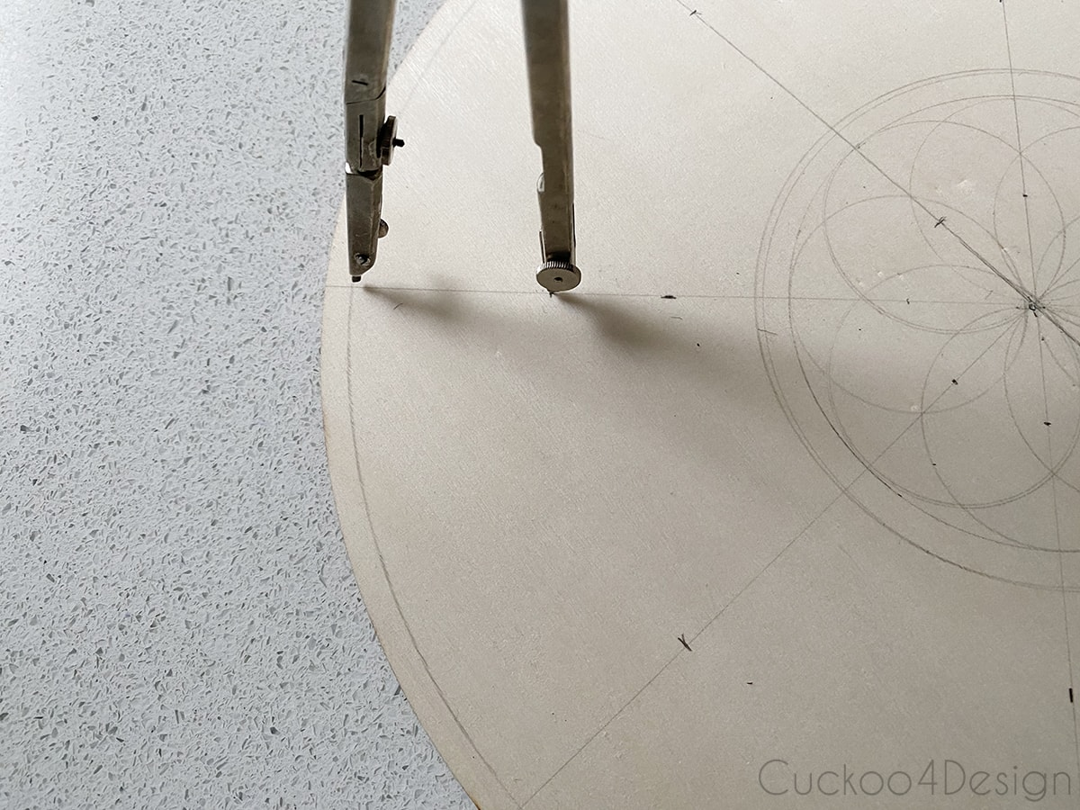 view of the compass drawing the outer circles