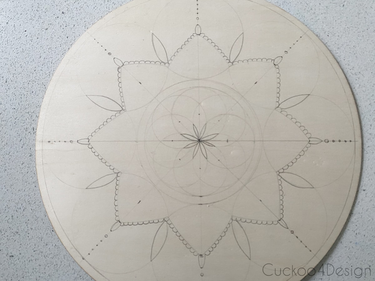 view of the finished pattern before woodburning