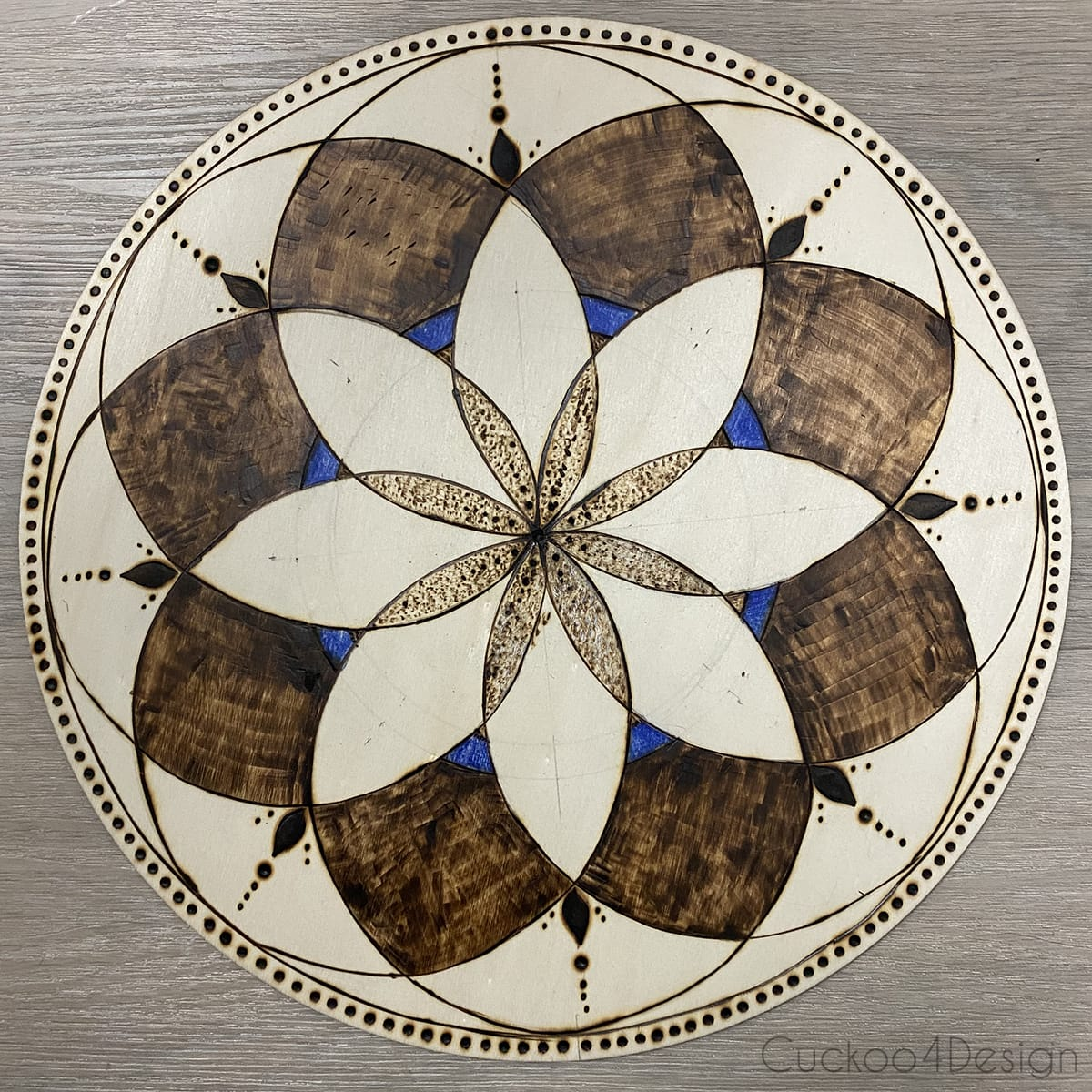 finished mandala pattern with a circular structure from instructional video