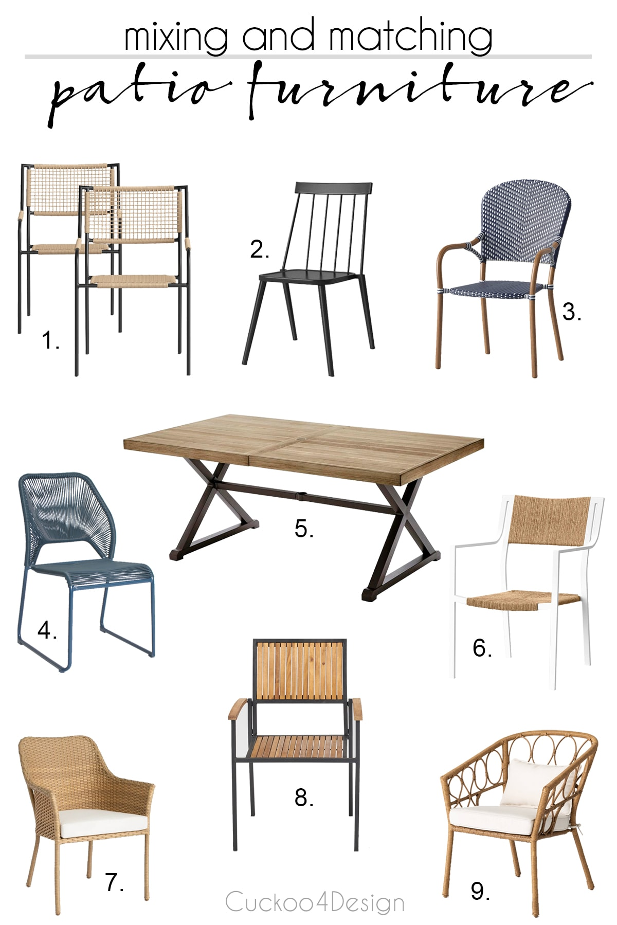 mixing and matching different patio furniture