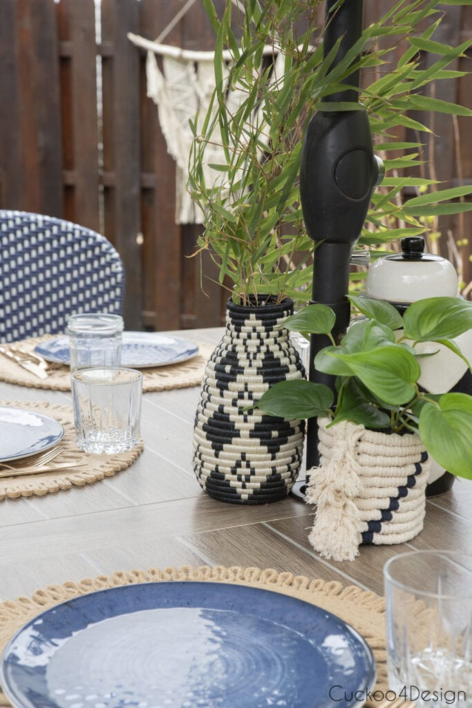 patio table with outdoor macrame piece using the same durable synthetic yarn