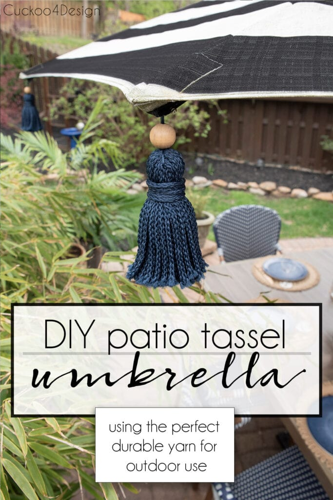 how to make your own DIY patio tassel umbrella pin graphic
