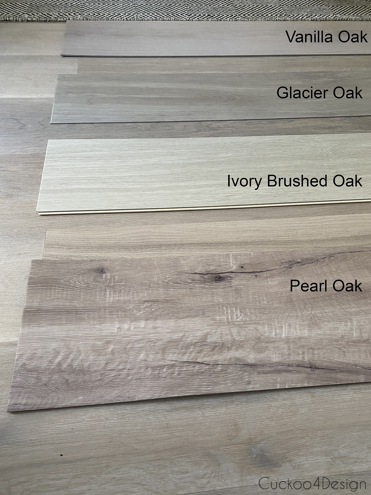 darker lighting of flooring to compare the different light colored wood vinyl flooring samples