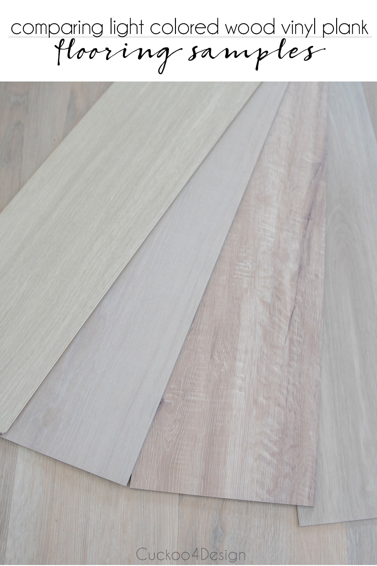 comparing different light colored wood vinyl plank flooring samples in a fan