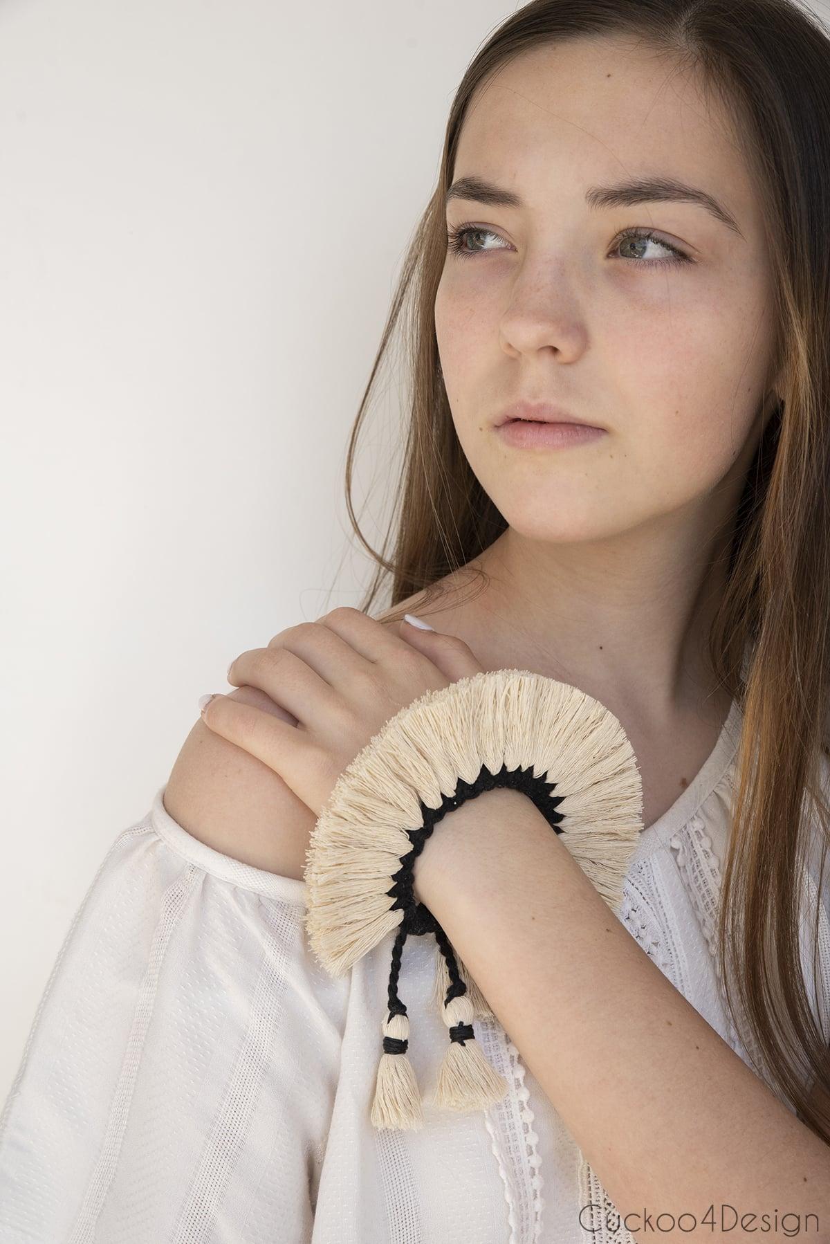 girl modeling knot bracelet