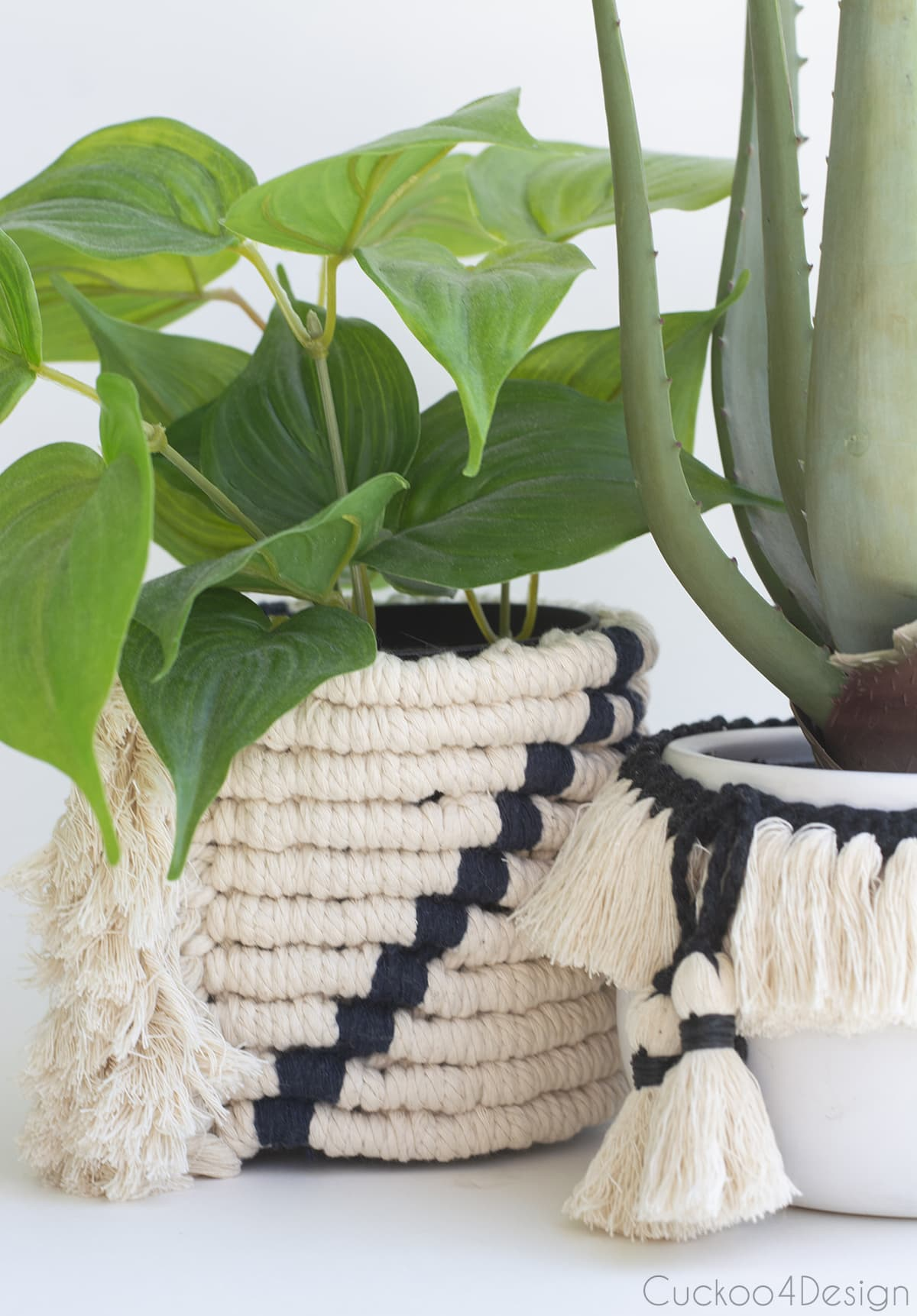macrame fringe garland next to easy macrame planter sleeve
