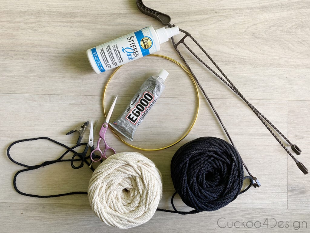 materials needed for making an easy macrame plant hanger