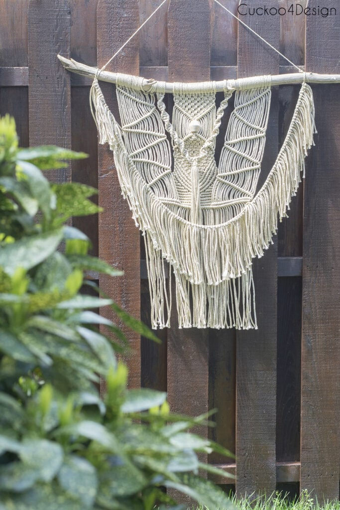 outdoor macrame piece with durable synthetic yarn