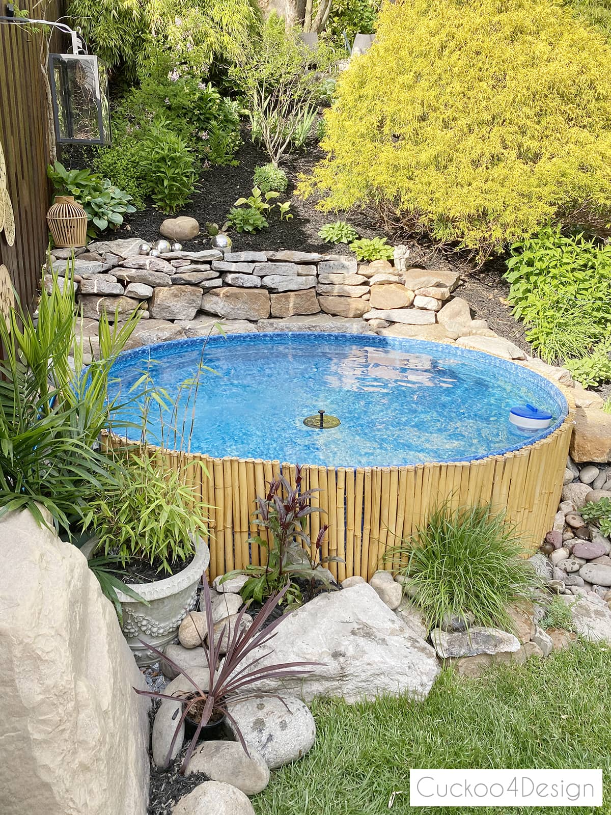 rock wall and faux rock pool pump cover