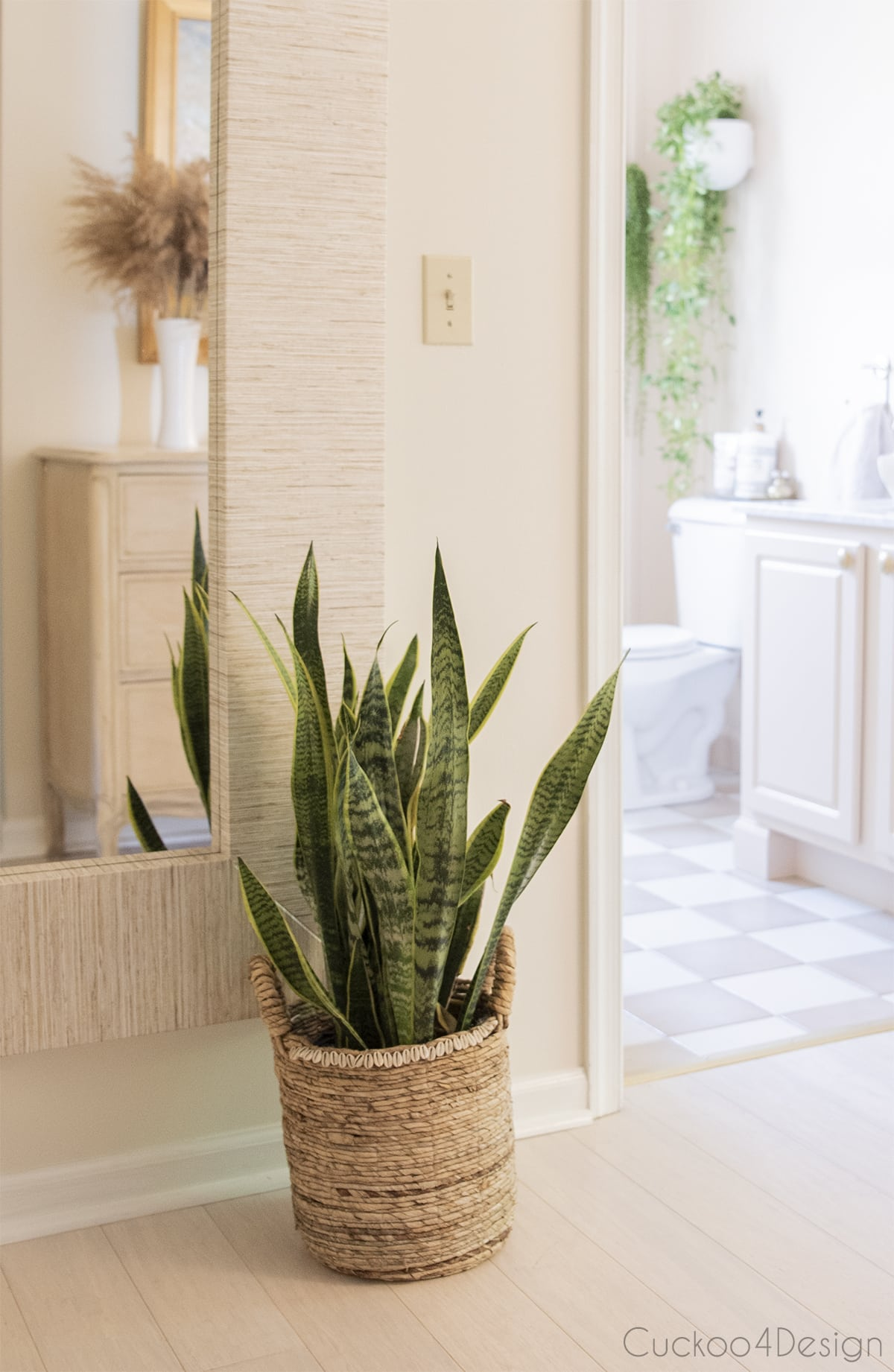 view of our bedroom hallway with snake plant