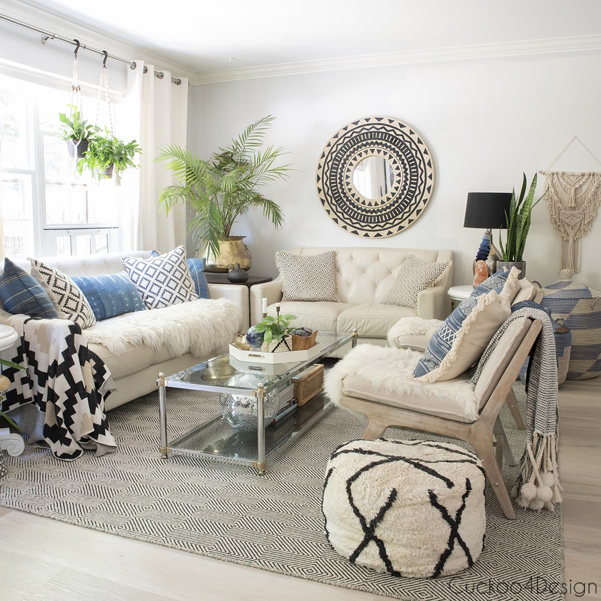 ivory and black living room with blue accents