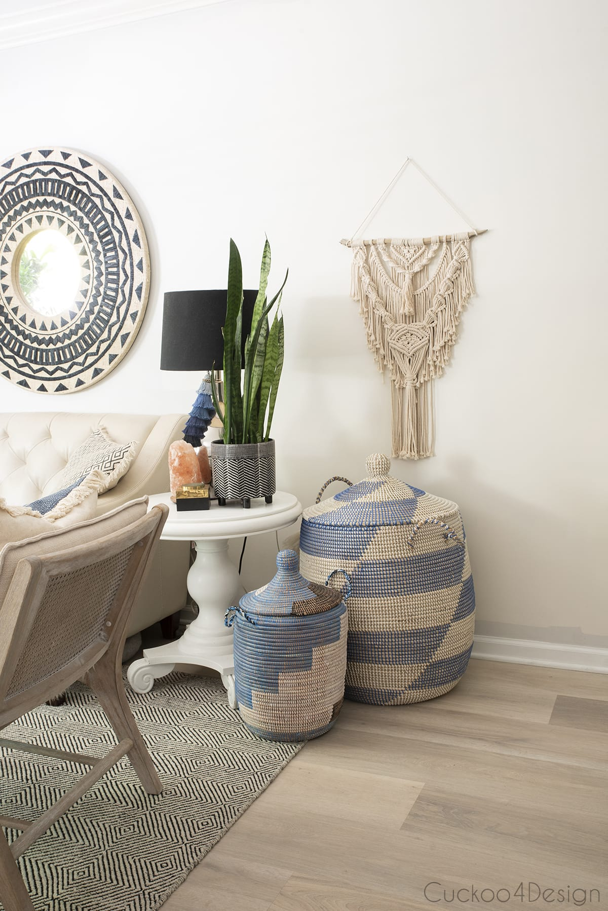 blue and ivory African storage baskets