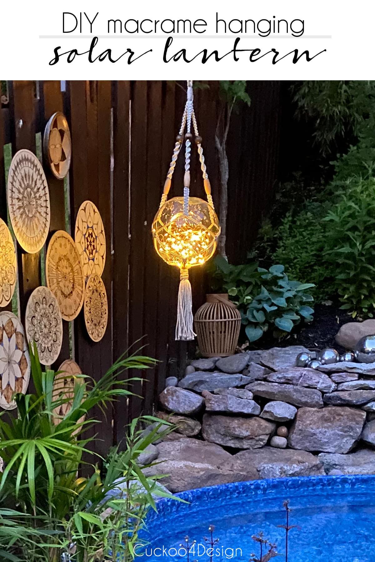 DIY macrame hanging solar lantern