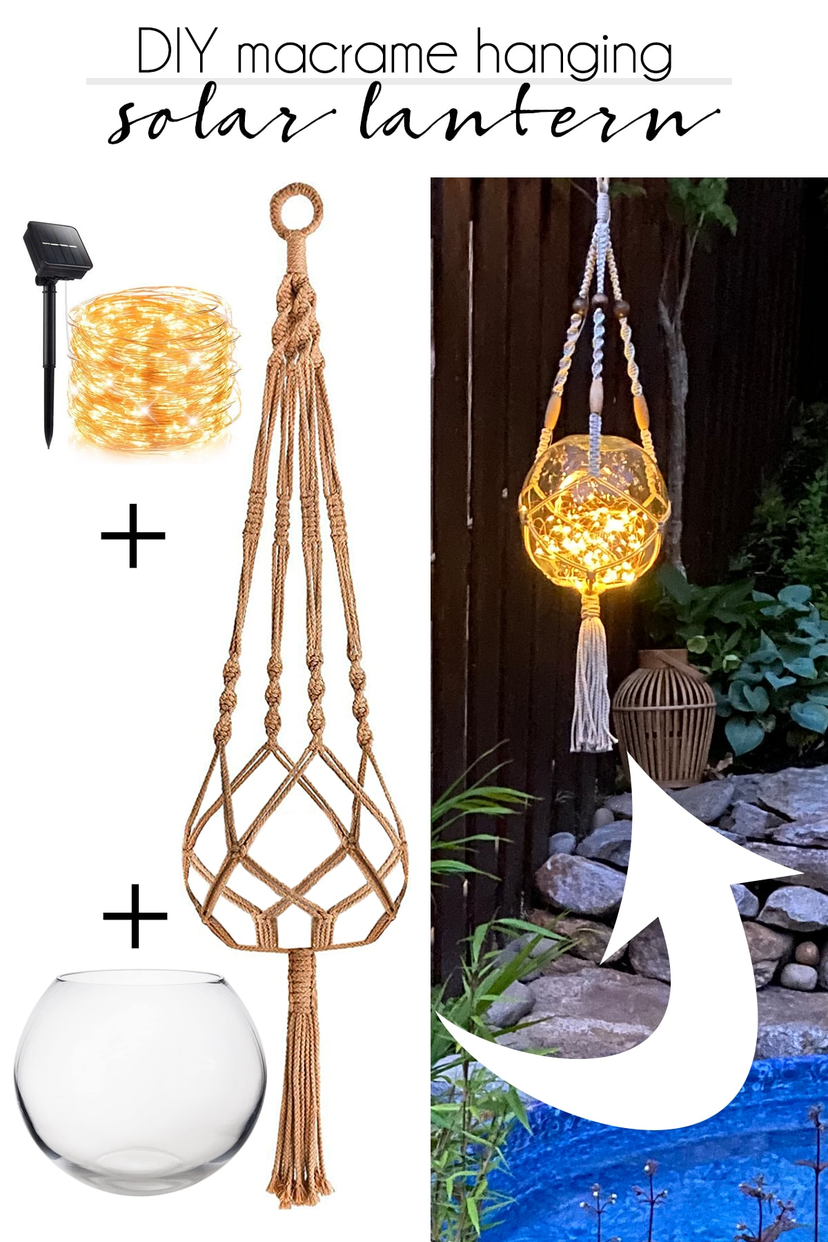 items used for DIY macrame hanging solar lantern