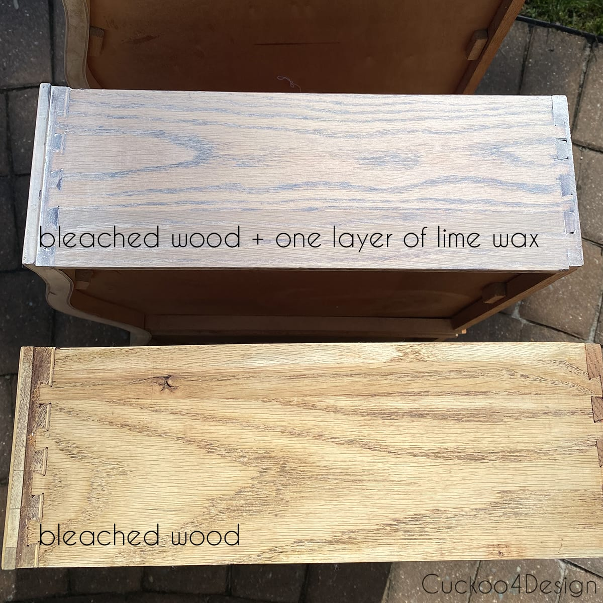 side drawer view of the difference between bleach only and an added coat of lime wax