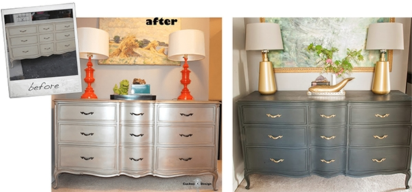 before photos of french provincial dresser