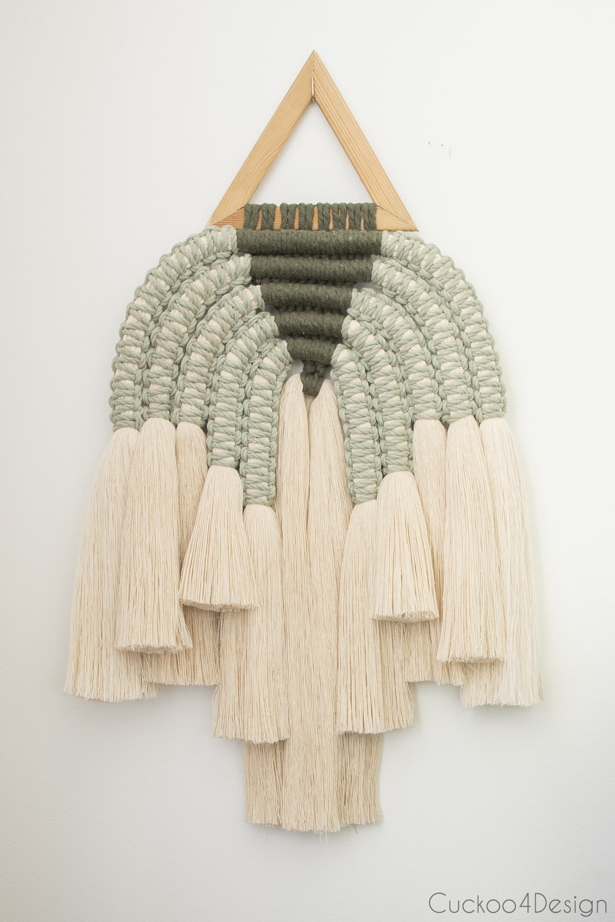 modern ivory and green macrame wall hanging