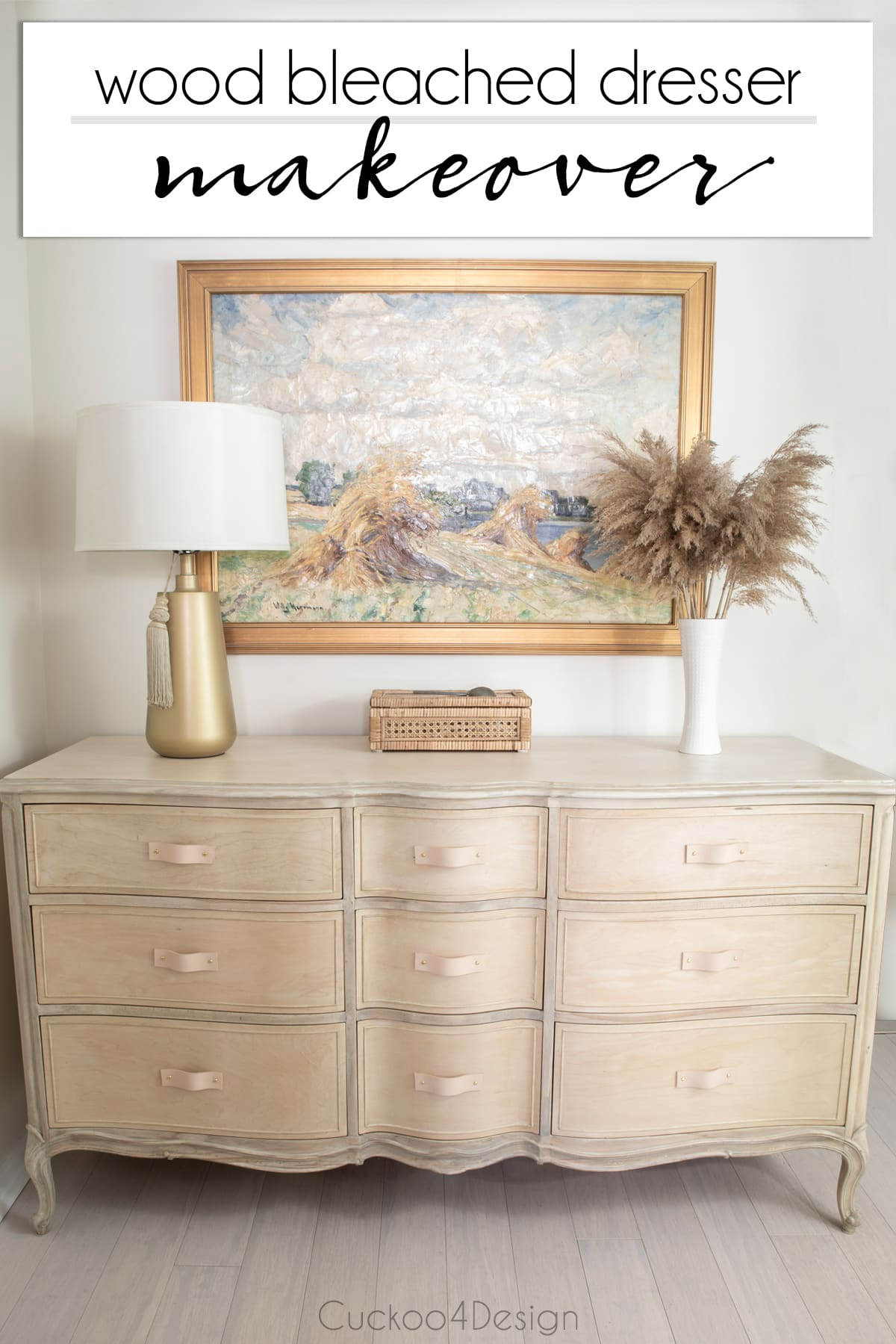 wood bleach dresser makeover using two-parts wood bleaching kit