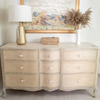 French Provincial wood bleach dresser makeover
