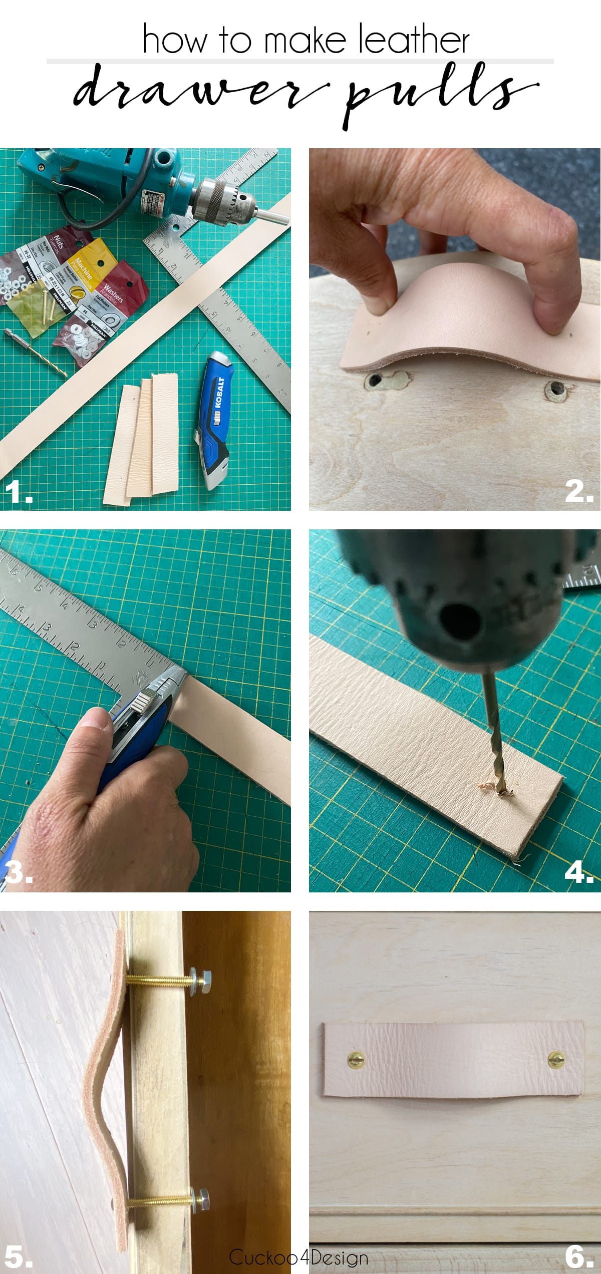 detailed steps about how to make leather drawer pulls