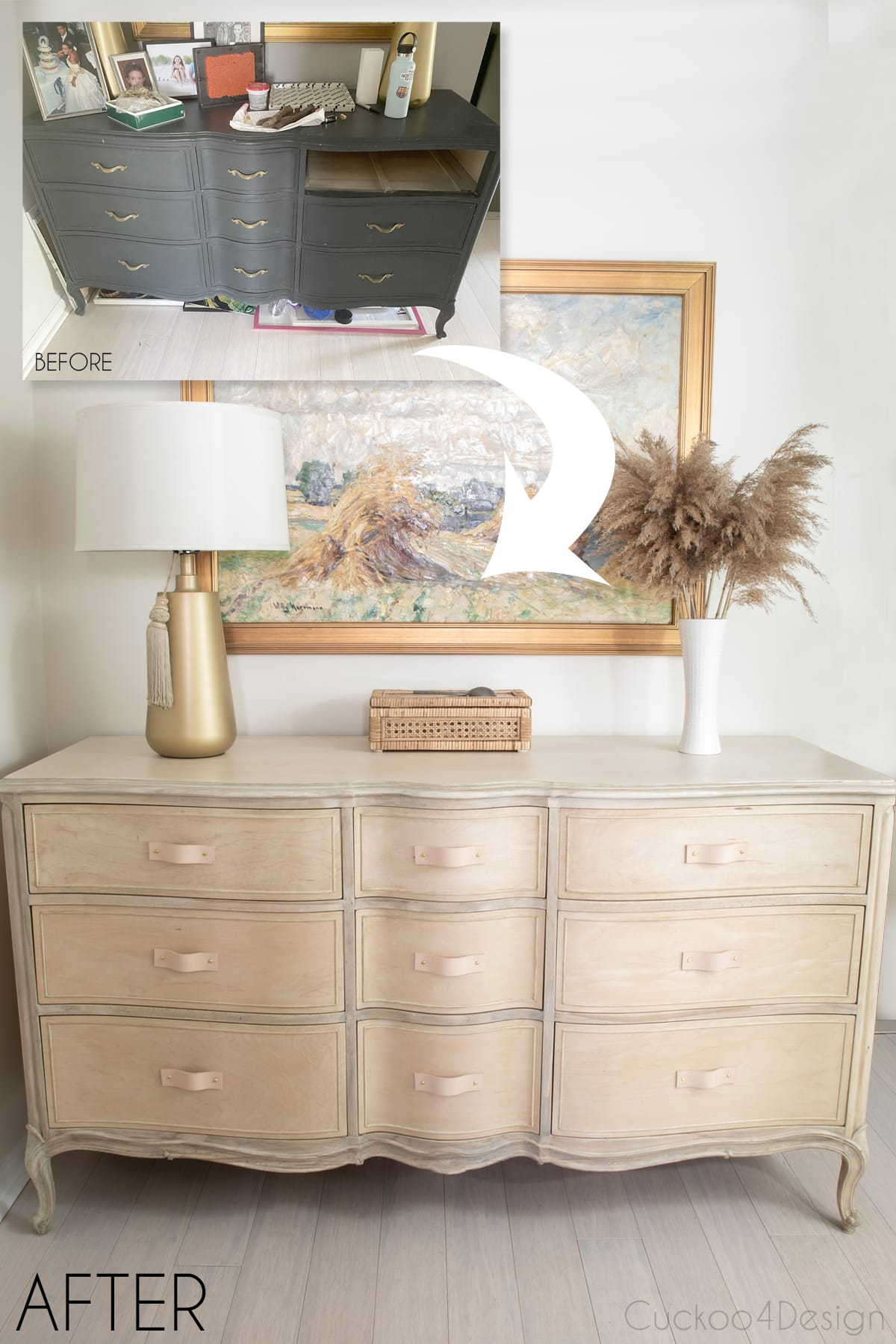 turning a drab old dresser into a raw bleached wood beauty