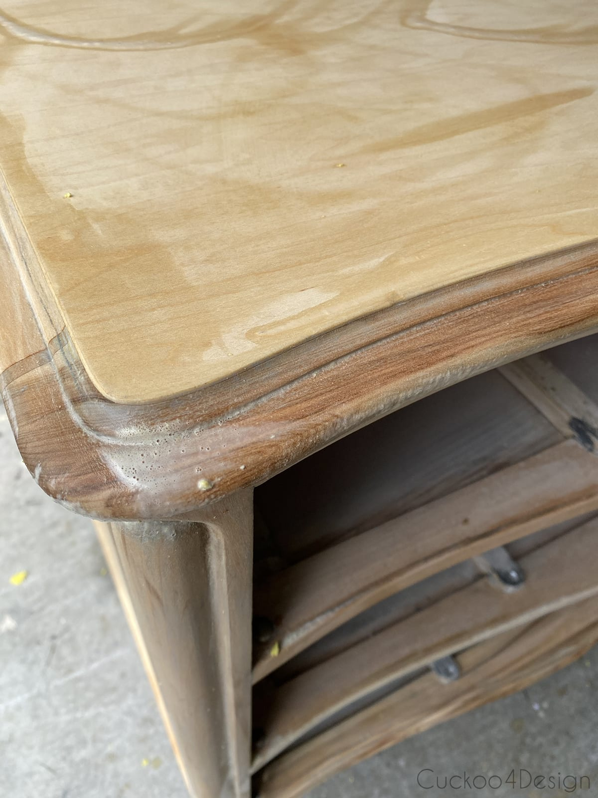 reaction of two-parts bleach on wood dresser