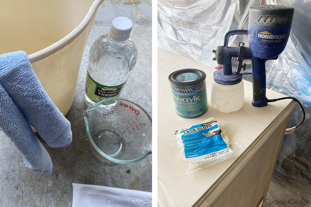 products used for neutralization of the bleached wood and the varnish and spray painter used
