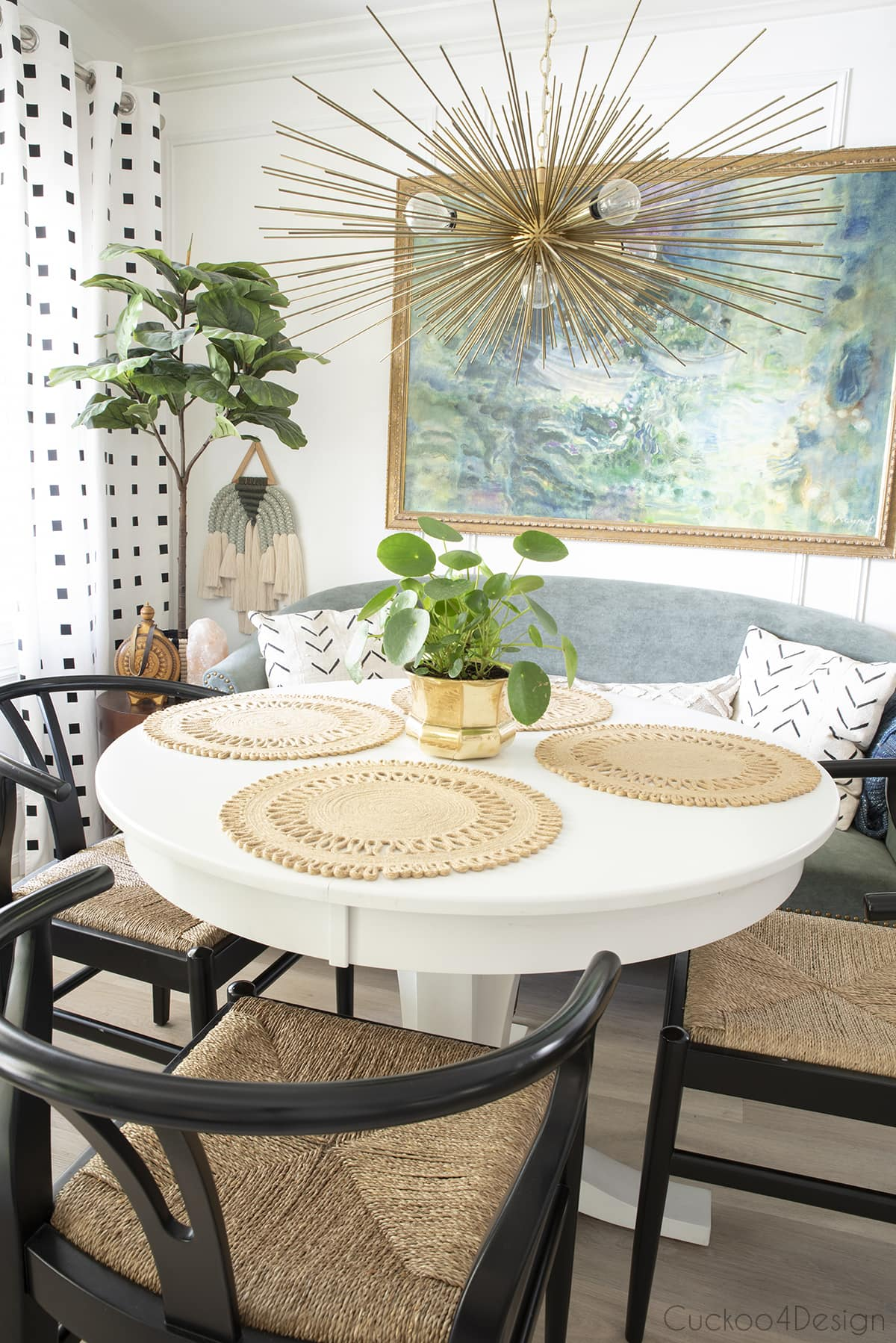 dining room with modern macrame wall hanging