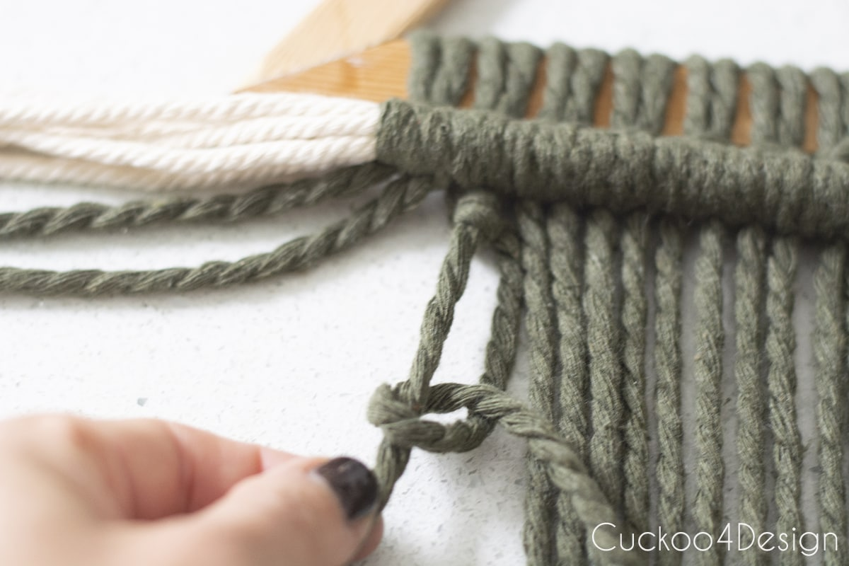 close up of green macrame yard Double Half Hitch Knot