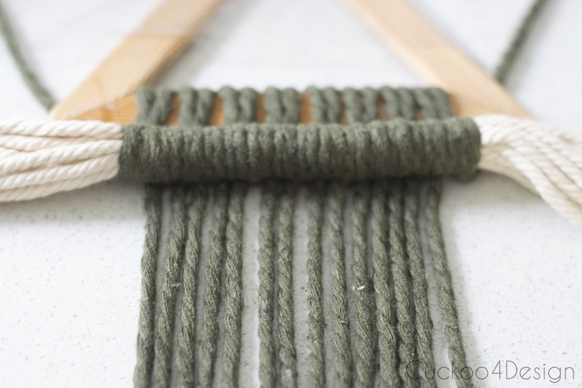 view of row of Double Half Hitch Knots