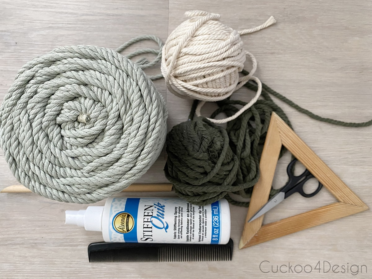 materials needed for unique modern macrame wall hanging