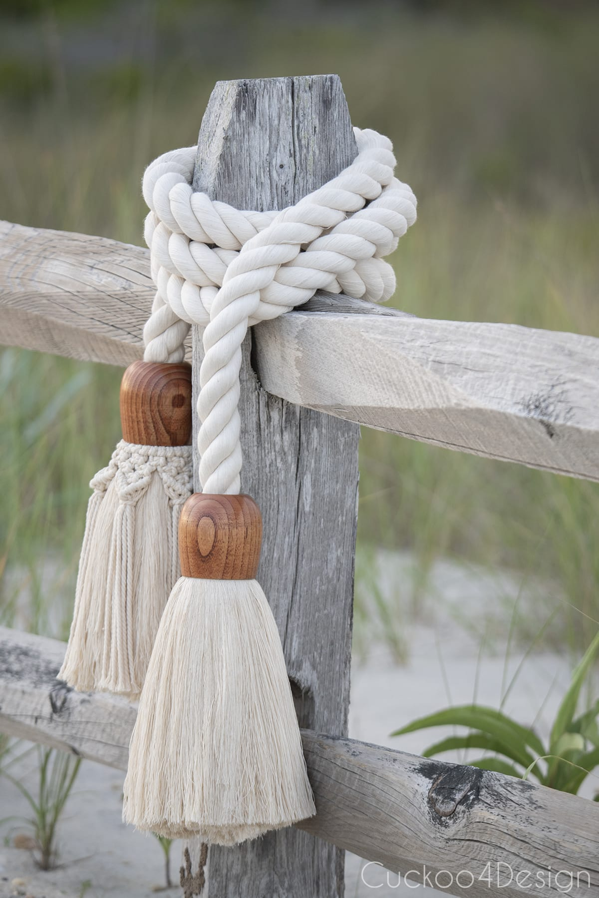 view of giant cotton rope macrame tassel garland towards the dunes