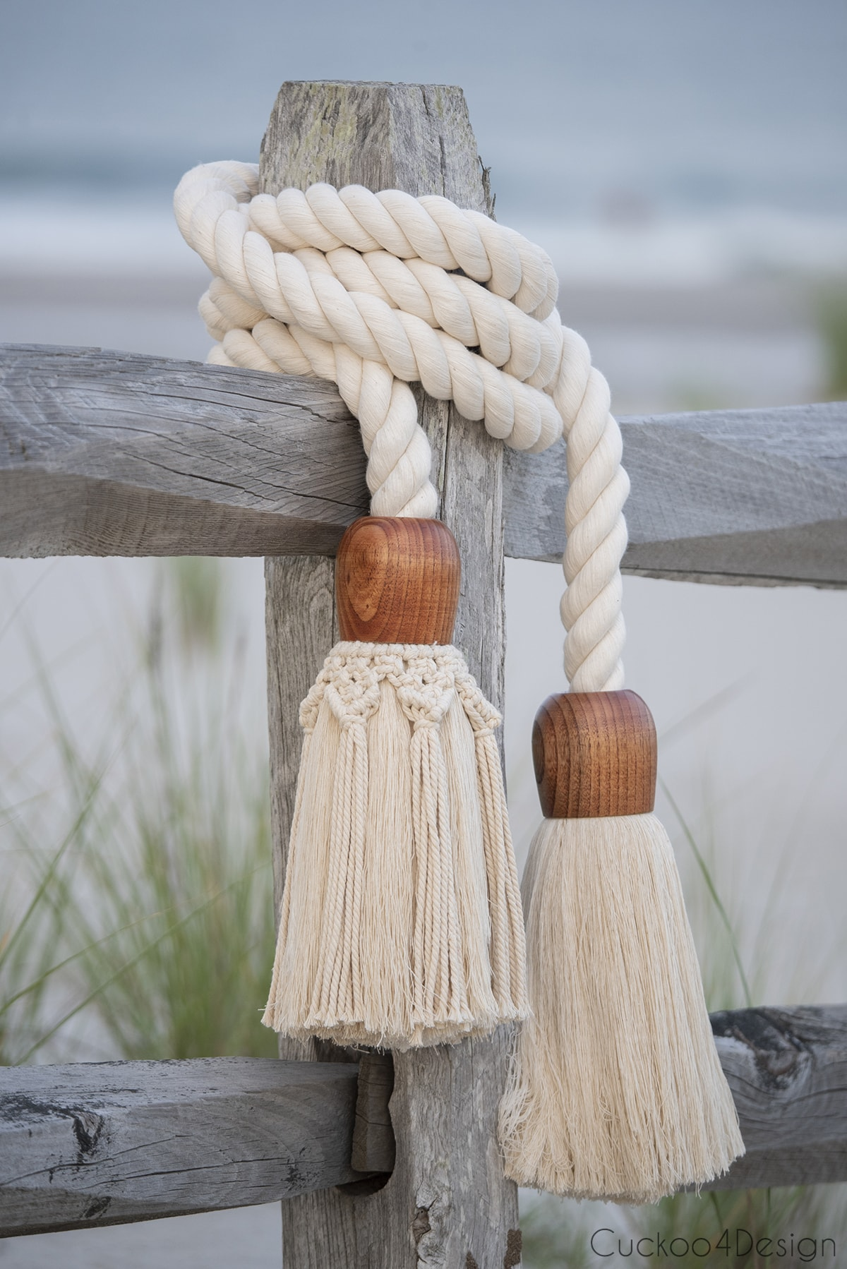 beach view of giant cotton rope macrame tassel garland
