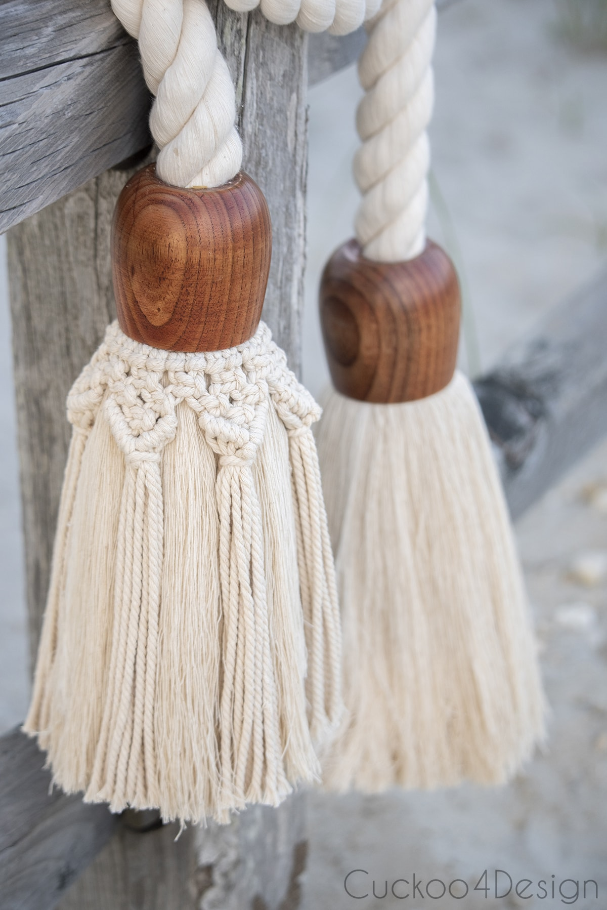 closeup view of giant cotton rope macrame tassels