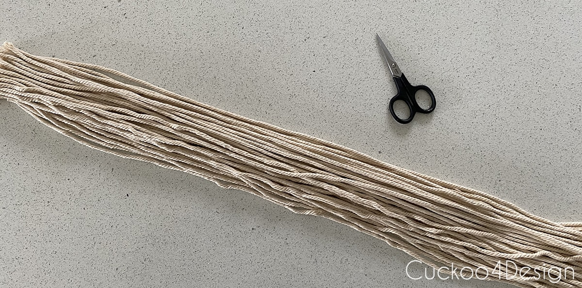 cutting macrame yarn pieces